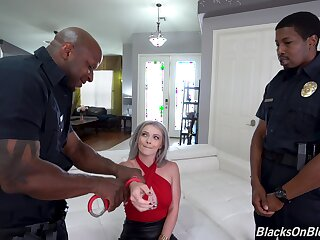 Intense threesome for a hot wife with two black cops