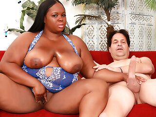 Ebony BBW Olivia Leigh Has Her Juicy Natural Soul Sprayed away from an Ivory Rod