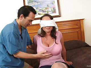 Blind-folded wife experiences her first home gangbang