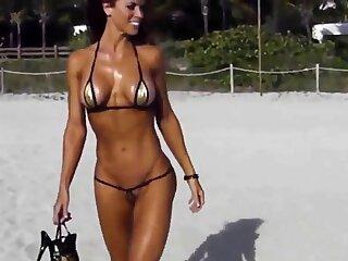 Extreme short bikini cameltoe concatenation chiefly beach