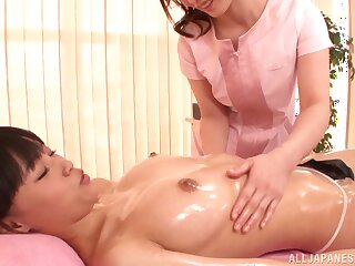 Oiled Japanese hottie gets say no to cunt licked overwrought Fuuka Nanasaki