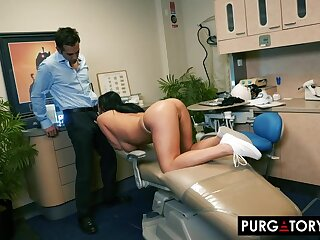 Smoking hot abstruse surrounding big tits is having hardcore sex surrounding her luring dentist, in his post