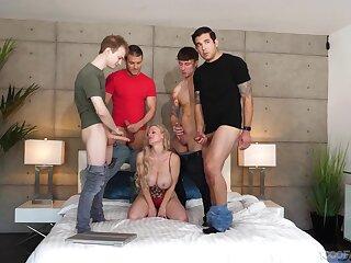 Shove around blonde indulge Casca Akashova enjoys sucking lot of hard cocks