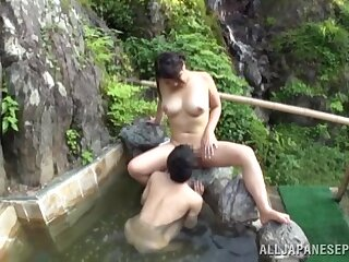 Skinny dude with a long locate fucks busty a Japanese girl in absent from